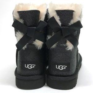 96584c968d7 UGG Mini Bailey BOW SPARKLE Boots Black 11 NIB NWT